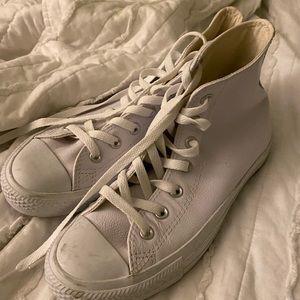 White mono leather converse